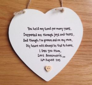 Shabby Personalised Chic Mother Of The Bride Hanging Heart Gift Any Names Dates